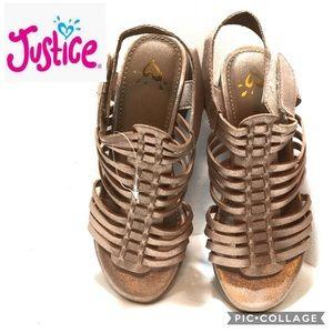 NEW Justice size 2 strappy sandals velcro closure